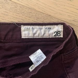 Rag and Bone skinny jeans - Plum Color, size 28